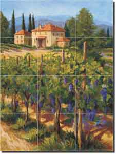 "Morris Tuscan Vineyard Ceramic Tile Mural 12.75"" x 17"" - JM072"