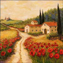 Morris Tuscan Poppy Ceramic Accent Tile - JM078AT
