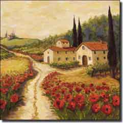Morris Tuscan Poppy Ceramic Accent Tile 4.25