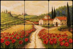 Red Poppy Road by Joanne Morris Margosian Tumbled Marble Tile Mural JM078