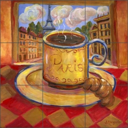 Paris Cafe by Joanne Morris Margosian Ceramic Tile Mural - JM082