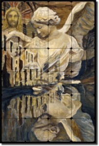 "The Angel by Joanne Margosian - Religious Tumbled Marble Tile Mural 24"" x 16"" Kitchen Shower Backspl"