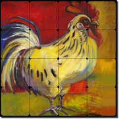 "Rooster I by Joanne Morris - Tumbled Marble Tile Mural 16"" x 16"""