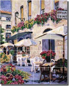 "Morris French Cafe Ceramic Tile Mural 17"" x 21.25"" - JM086"