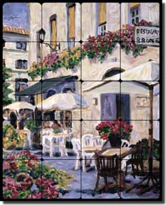 "Morris French Cafe Tumbled Marble Tile Mural 16"" x 20"" - JM086"