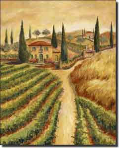 "Morris Tuscan Vineyard Ceramic Accent Tile 8"" x 10"" - JM087AT"
