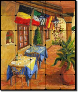 "Casanova's Porch by Joanne Margosian - Tumbled Marble Tile Mural 24"" x 20"" Kitchen Shower Backsplash"