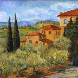 Hillside Villas by Joanne Morris Margosian Ceramic Tile Mural - JM097