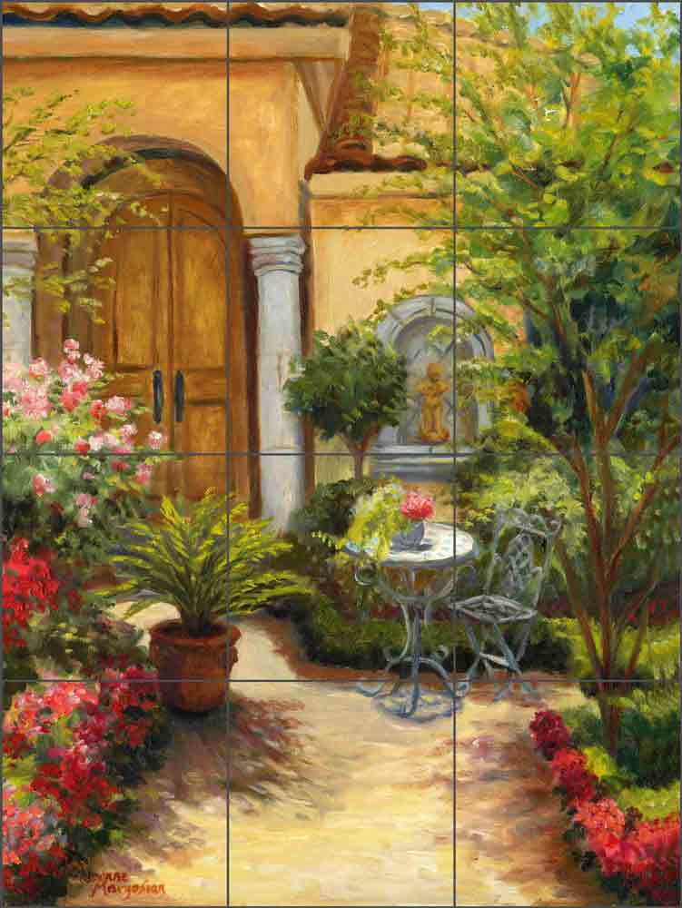 Patio Garden by Joanne Morris Margosian Ceramic Tile Mural JM099