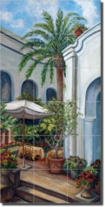 "Capri Palm Cafe by Joanne Margosian - Tumbled Marble Tile Mural 36"" x 18"" Kitchen Shower Backsplash"