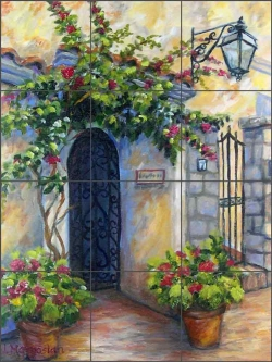 Capri Iron Gate by Joanne Morris Margosian Ceramic Tile Mural JM101