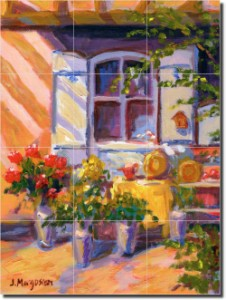 "Monet's Flowers by Joanne Margosian - Floral Tumbled Marble Tile Mural 24"" x 20"" Kitchen Shower Back"