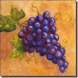 Grapes - Cabernet by Joanne Morris Margosian Ceramic Accent & Decor Tile