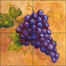 Grapes - Cabernet by Joanne Morris Margosian Ceramic Tile Mural JM103