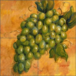 Grapes - Chardonnay by Joanne Morris Margosian Ceramic Tile Mural JM104