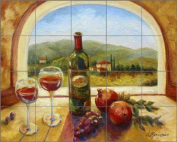 Wine Table View by Joanne Morris Margosian Stone Finish Tile Mural JM107