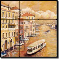 "Morris Venice Canal Ferry Tumbled Marble Tile Mural 12"" x 12"" - JM108"