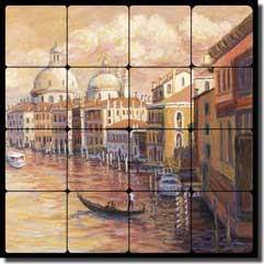 "Morris Venice Canal Ferry Tumbled Marble Tile Mural 16"" x 16"" - JM109"