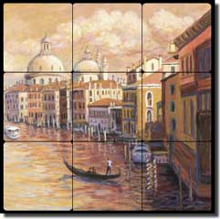"Morris Venice Canal Ferry Tumbled Marble Tile Mural 12"" x 12"" - JM109"