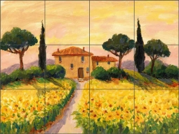 Sunflower Villa by Joanne Morris Margosian Ceramic Tile Mural JM110