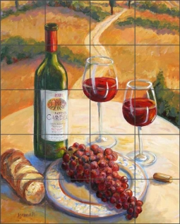 Cardella Wine Table by Joanne Morris Margosian Ceramic Tile Mural JM112