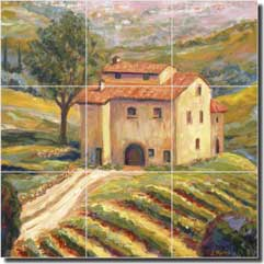 "Morris Tuscan Vineyard Ceramic Tile Mural 12.75"" x 12.75"" - JM115"