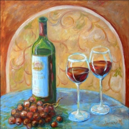 Vino Time by Joanne Morris Margosian Ceramic Accent & Decor Tile - JM121AT