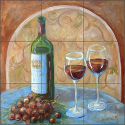 Vino Time by Joanne Morris Margosian Travertine Stone Tile Mural - JM121