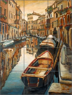 Venice Evening Reflections by Joanne Morris Margosian Ceramic Tile Mural - JM123