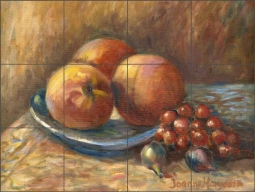 Peaches & Grapes by Joanne Morris Margosian Ceramic Tile Mural - JM124