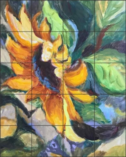 Sunflower by Joanne Morris Ceramic Tile Mural JM134