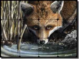 "Sparks Fox Animal Tumbled Marble Mural 16"" x 12"" - JSA005"