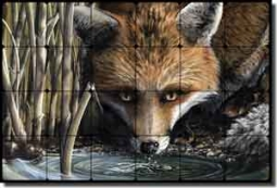 "Sparks Fox Animal Tumbled Marble Mural 24"" x 16"" - JSA005"