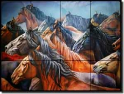 "Taylor Horse Equine Tumbled Marble Mural 16"" x 12"" - JTA002"