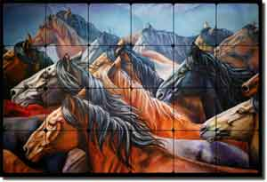 "Taylor Horse Equine Tumbled Marble Mural 24"" x 16"" - JTA002"