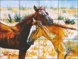 Pasture Buddies by Jan Taylor Ceramic Tile Mural - JTA004