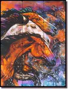 "Taylor Horse Equine Art Tumbled Marble Tile Mural 18"" x 24"" - JTA008"