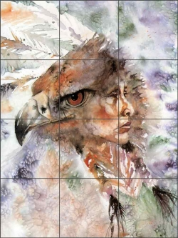 Vision of the Sacred Eagle by Jan Taylor Ceramic Tile Mural - JTA010