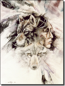 "Taylor Native American Wolf Ceramic Accent Tile 6"" x 8"" - JTA011AT"