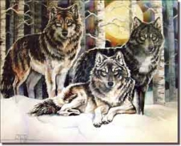 "Taylor Wolves Wolf Ceramic Accent Tile 10"" x 8"" - JTA015AT"