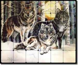 "Taylor Wolves Wolf Animal Tumbled Marble Mural 24"" x 20"" - JTA015"