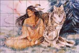 Taylor Native American Ceramic Tile Mural - JTA019