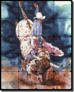 "Taylor Western Cowboy Bull Tumbled Marble Tile Mural 16"" x 20"" - JTA021"