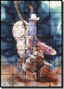 "Taylor Western Cowboy Bull Tumbled Marble Tile Mural 20"" x 28"" - JTA021"