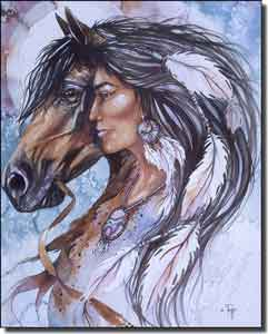 "Taylor Native American Horse Ceramic Accent Tile 8"" x 10"" - JTA023AT"