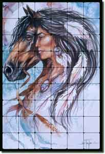 "Taylor Native American Horse Tumbled Marble Tile Mural 36"" x 24"" - JTA023"