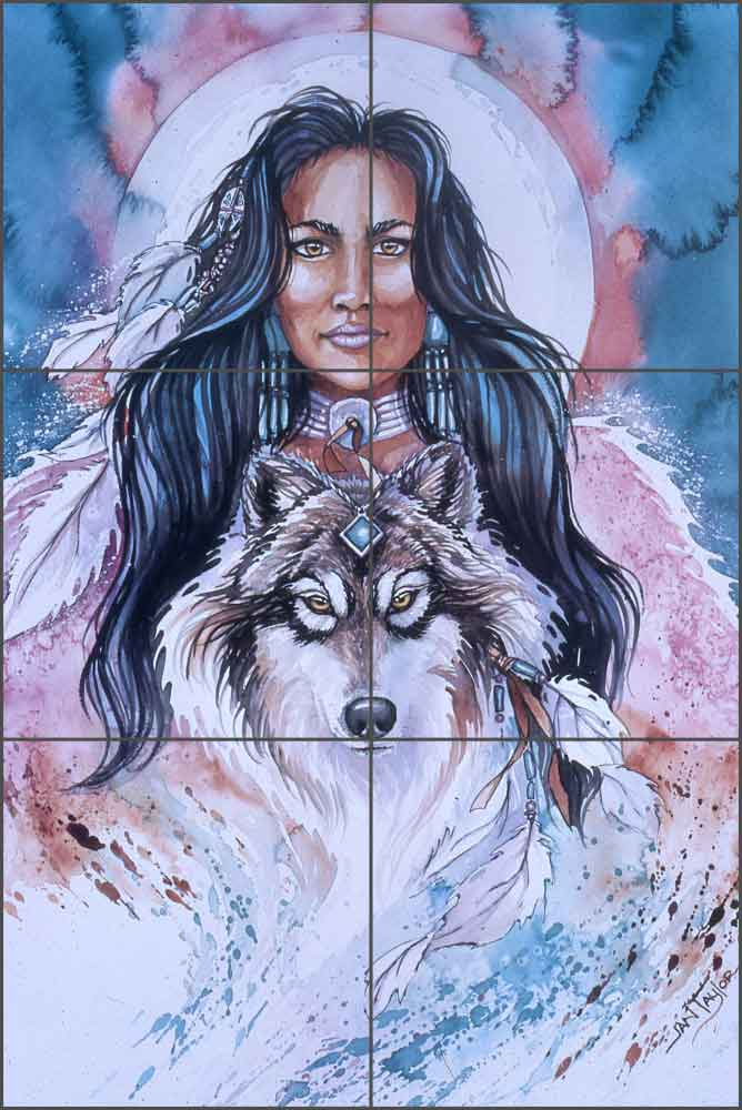 Eyes of the Wolf by Jan Taylor Ceramic Tile Mural - JTA025