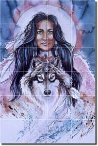 "Eyes of the Wolf by Jan Taylor - Native American Wolf Ceramic Tile Mural 25.5"" x 17"""