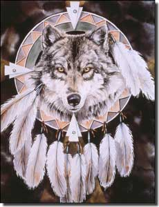 "Taylor Native American Wolf Ceramic Accent Tile 6"" x 8"" - JTA026AT"