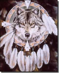 "Taylor Native American Wolf Ceramic Accent Tile 8"" x 10"" - JTA026AT"
